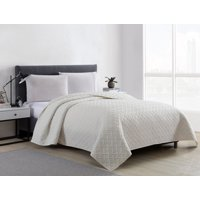 Mainstays Vanilla Emma Solid Basketweave Quilt and Shams