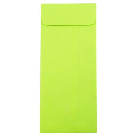 Ultra Thin Envelope - JAM Paper #10 Open End Policy Envelope, 4 1/8 x 9 1/2, Brite Hue Ultra Lime Green, 50/pack