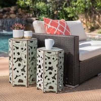 Wayne Outdoor Iron Accent Tables, Set of 2, Antique Green