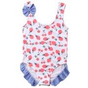 0fef0f58de8e1 Infant Toddler Baby Girls Sleeveless Strawberry Cherry One Piece Bikini  Beach Bathing Suit