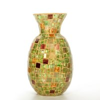 Elegant Expressions by Hosley Mosaic Glass Vase, Green and Amber