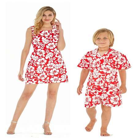 Matching Mother Son Hawaiian Luau Outfit Women Dress Boy Shirt Shorts Classic Vintage Hibiscus Red S-8 - Mother And Son Matching Outfits