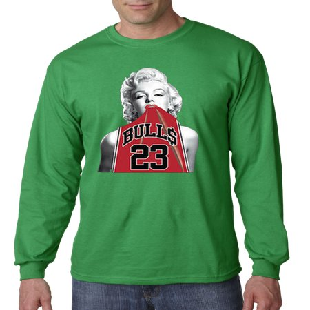 419 - Unisex Long-Sleeve T-Shirt Marilyn Monroe Bulls 23 Jordan Red - 23 Throwback Jersey