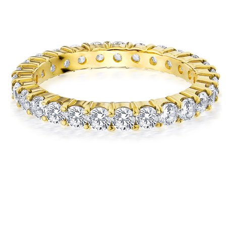 1.5 CTTW Shared Prong Round Diamond Eternity Anniversary Ring in Yellow Gold