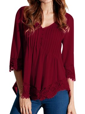 Womens V Neck Lace Floral Pleated Tunic Tops