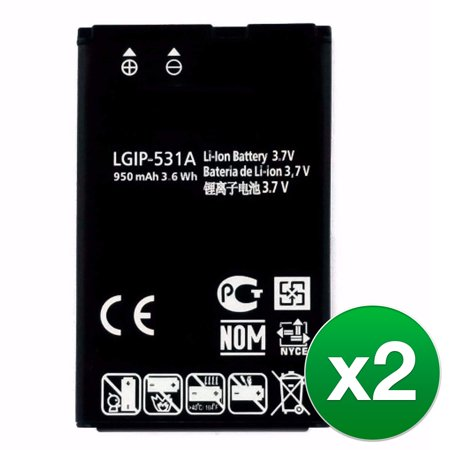 Replacement Battery For LG Cookie Smart Cell Phones - LGIP-531A (950mAh, 3.7V, Lithium Ion) - 2 Pack