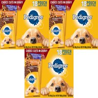 (3 Pack) PEDIGREE CHOICE CUTS in Gravy Adult Wet Dog Food Variety Pack, (18) 3.5 oz. Pouches