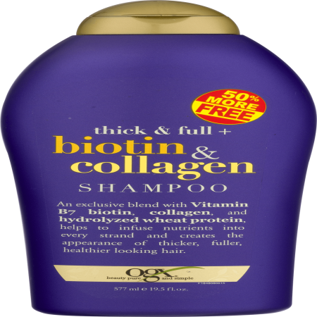 - OGX Thick & Full Biotin & Collagen Shampoo, 19.5 Oz