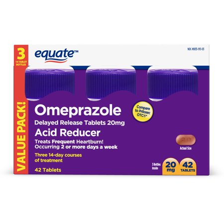 Equate Acid Reducer Omeprazole Delayed Release Tablets 20 Mg 42 Ct