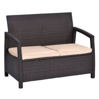 Outdoor Rattan Loveseat Bench Couch Chair With Cushions Patio Furniture Brown