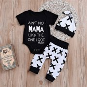 Newborn Baby Boy Girls MAMA Print Tops Romper +Long Pants Leggings Hat Outfits Set Clothes