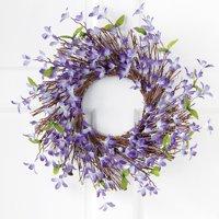 Spring Forsythia Floral Twig Door Wreath - Seasonal Door Accent for Any Room, Lavender