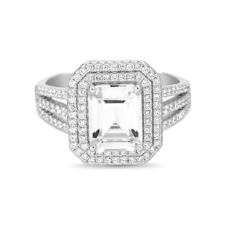 Inspired by You Emerald Cut Prong Set Cubic Zirconia Bridal Engagement Halo Ring for Women in Rhodium Plated 925 Sterling