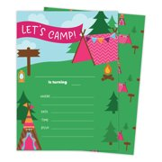 Camping Girls 3 Happy Birthday Invitations Invite Cards 25 Count With Envelopes Seal