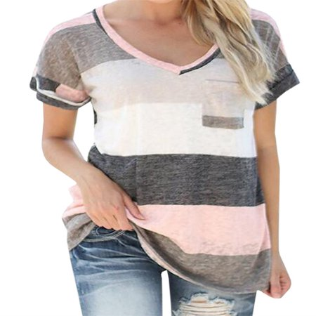 3 Stripes Short Sleeve Tee (V-neck Women Colorful Striped Short Sleeve Casual)