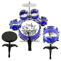 Velocity ToysTM 11 Piece Children's Kid's Toy Drum Set Musical Instrument Playset w/ 6 Drums, Cymbal, Chair, Drumsticks (Blue)