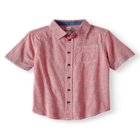 Short Sleeve Stretch Button Up Slub Shirt (Little Boys, Big Boys, & Husky)