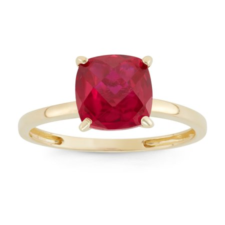 Cut Gem (10k gold cushion cut gemstone ring )