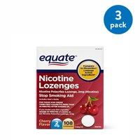 (3 Pack) Equate Nicotine Lozenges Stop Smoking Aid Cherry Flavor, 2 mg, 108 Ct