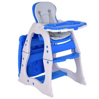 Costway 3 in 1 Baby High Chair Convertible Play Table Seat Booster Toddler Feeding Tray