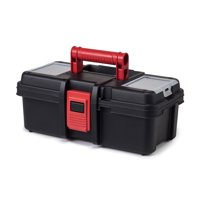 Hyper Tough 13-Inch Toolbox, Plastic Tool and Hardware Storage, Black