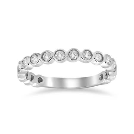 1/2ct Stackable Bezel Diamond Wedding Ring 14K White Gold Anniversary Band ()