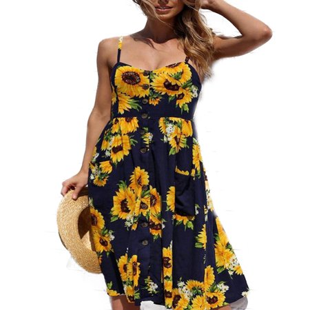 Women Holiday Strappy Floral Maxi Dresses Summer Beach Party Midi Swing Sundress