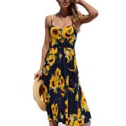 03fc3186e4 Women Holiday Strappy Floral Maxi Dresses Summer Beach Party Midi Swing  Sundress