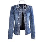 8cb7532f5dc9b Womens Plus Jean Jacket Plus Size Washed Diamonds Sequins Denim Jacket Coat  Outerwear Juniors Jean Faded