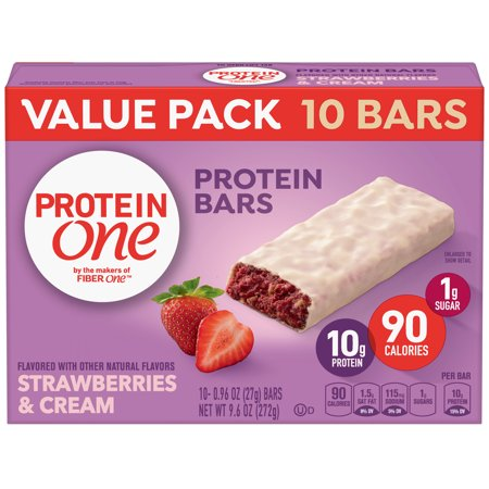 Protein One 90 Calorie Strawberries & Cream Bars 10 Count, 9.6 oz (Creme Bar)