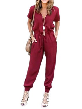DYMADE Women's V Neck Solid Loose Long Jumpsuits Romper Playsuit With Adjustable Drawstrings