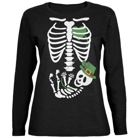 Halloween Irish Baby Skeleton Black Womens Long Sleeve T-Shirt - Irish Rover Halloween