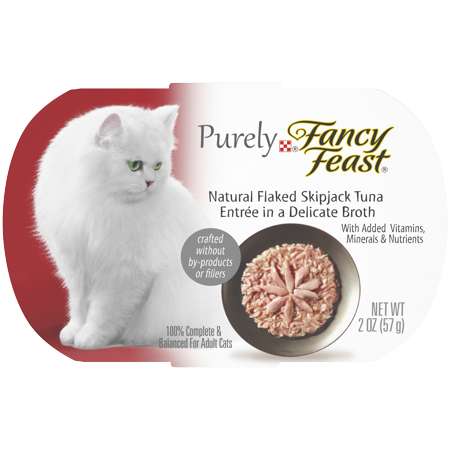 Fancy Feast Natural Grain Free Broth Wet Cat Food, Purely Natural Flaked Skipjack Tuna Entree - 2 oz. Tray