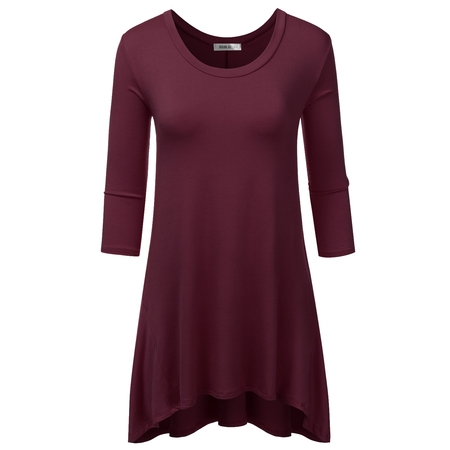 Doublju Loose Fit 3/4 Sleeve Oversized Flare Tunic Top For Women With Plus Size ASHBURGUNDY S (Fit Woven Shirt)