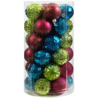 Holiday Time 41-Piece Shatterproof Ornament Set, Dark Teal, Lime Green & Fuchsia