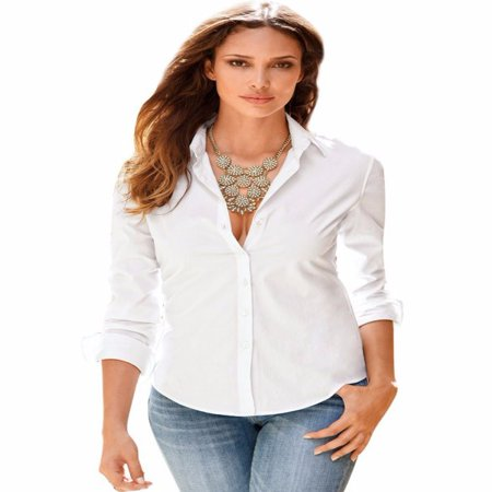 EFINNY Womens Solid OL Slim Fit Long Sleeve Blouse Button Down Shirt Top Casual (Long Sleeve Bottom Down Shirt)