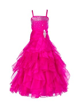 Ekidsbridal Elegant Stunning Rhinestone Organza Layers Flower Girl Dress Junior Bridesmaid Recital Easter Holiday Gown Birthday Girl Dress Communion Formal Clothing Baptism 164s white 16