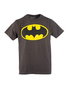 Boy's Charcoal DC Comics Batman Logo with HD Ink Short Sleeve Tee