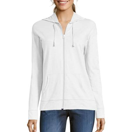 Women's Slub Jersey Cotton Full Zip Hoodie Ash Ladies Full Zip