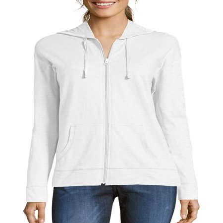 Hooded Fleece Sweatshirt Jacket - Women's Slub Jersey Cotton Full Zip Hoodie