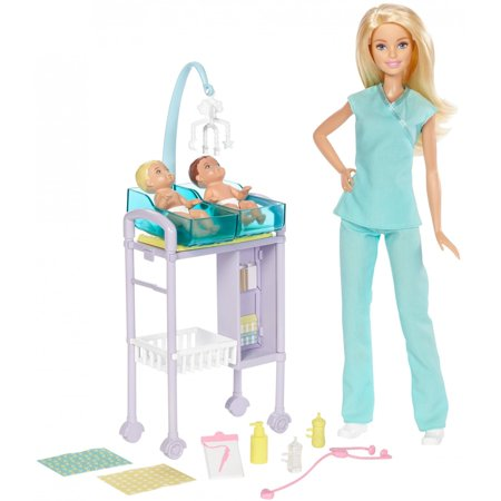 Barbie Careers Baby Doctor Barbie Doll, Blonde, with 2-Patients (Soda Shop Barbie)