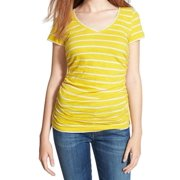 4b00726e Caslon NEW Yellow White Striped Women's Size XL Ruched Tee V-Neck T-Shirt