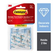 Command Wire Hook Value Pack, Clear, Medium, 6 Hooks, 8 Strips/Pack