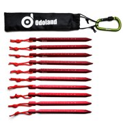 ODOLAND 20PCS Tent Stake Tent Pegs Aluminum Reflective Rope Carabiner for  Camping Outdoor Red 3c6f2629b56