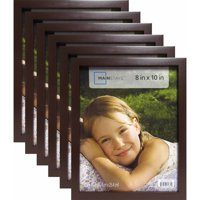 """Mainstays 8"""" x 10"""" Brown Linear Frame, Set of 6"""