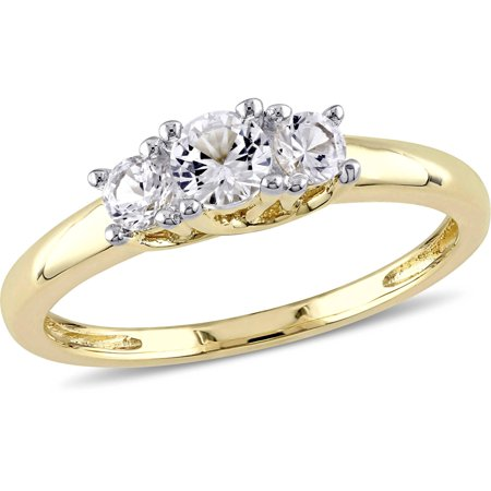 5/8 Carat T.G.W. Created White Sapphire 10kt Yellow Gold Three Stone Engagement Ring 3 Stone Si2 Ring