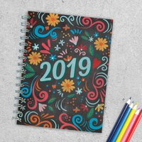 "2019 Colorful Chalk Art 6.25"" x 8"" January 2019-December 2019 Medium Daily Weekly Monthly Planner"