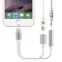 2 in 1 Lightning for iPhone 7 Adapter,Cyber Week iphone 7 Plus Adapter Lightning to 3.5mm Aux Headphone Jack and Charger Cable for iPhone 7 / 7 plus-Silver(ios10.3 and before)