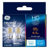 GE LED 4W HD Reveal A15 Ceiling Fan, Clear Finish, Medium Base, Dimmable, 2pk Light Bulbs