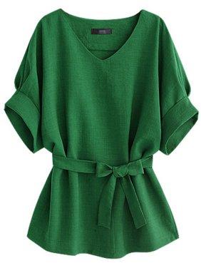 EFINNY Stylish Women V-neck Short Batwing Sleeve Plus Size Lose T-shirts